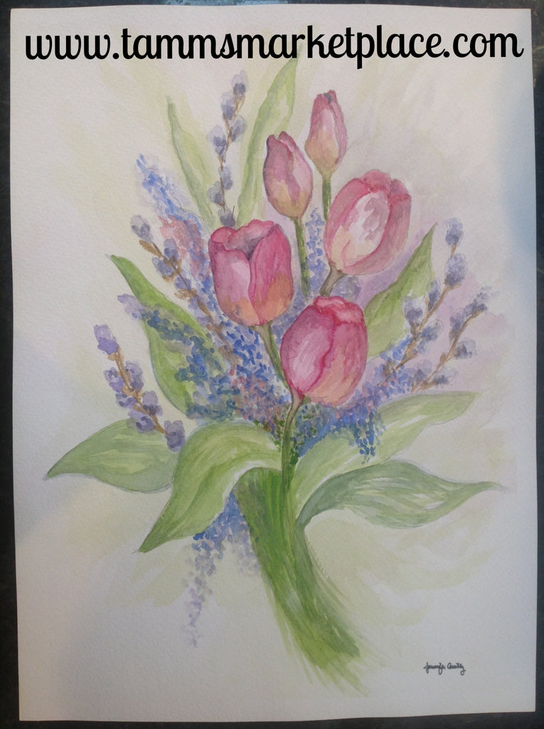 Original watercolor painting of tulip bouquet QWA013