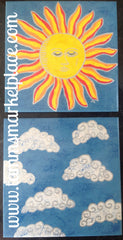 "Ceramic Tile Art -Sun and Clouds 8""x8"" QCT002"