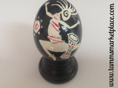 Real Chicken Egg hollowed and dyed with wax resist technique QEG085