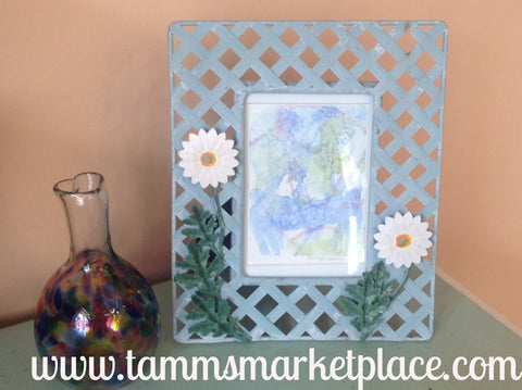 Abstract Watercolor Painting in Flowered Frame QWA035