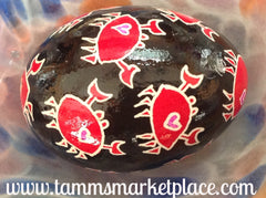 Real Chicken Egg hollowed and dyed with wax resist technique QEG062