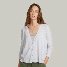 Load image into Gallery viewer, Pleat Back V-Neck Cardigan