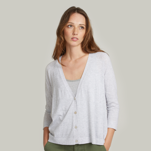Pleat Back V-Neck Cardigan