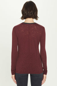 Long Sleeve Slub Tee with Pointelle Ring Neck