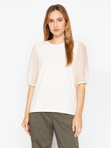 Sheer Sleeve Tee -- Soy Milk
