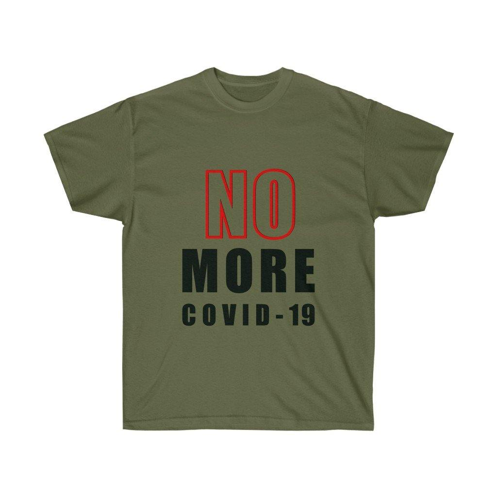 "Red ""NO MORE COVID"" On White 