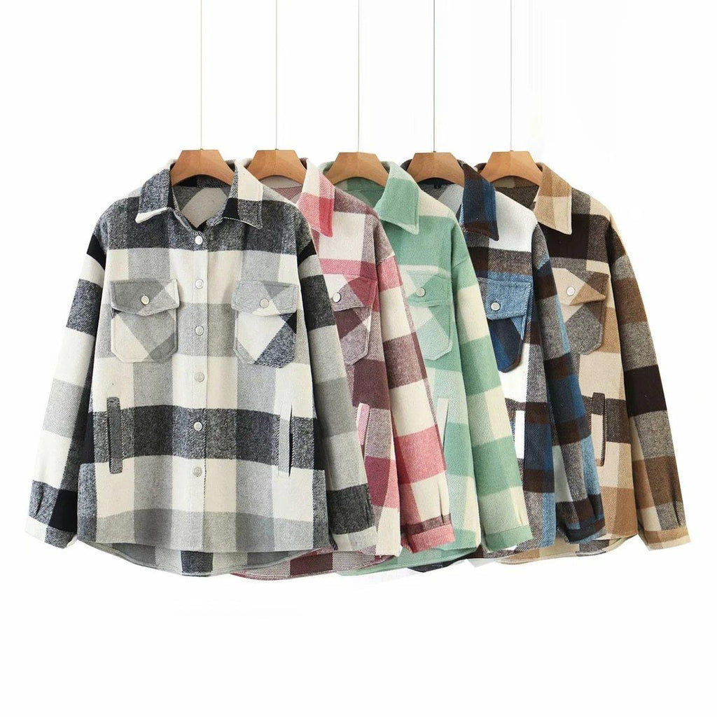 Collec. | Vintage Oversized Plaid Women's Vegan Wool Jacket
