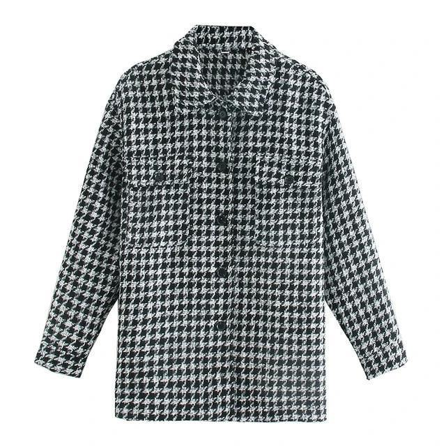 Black & White Tweed Women's Shirt - NOMO