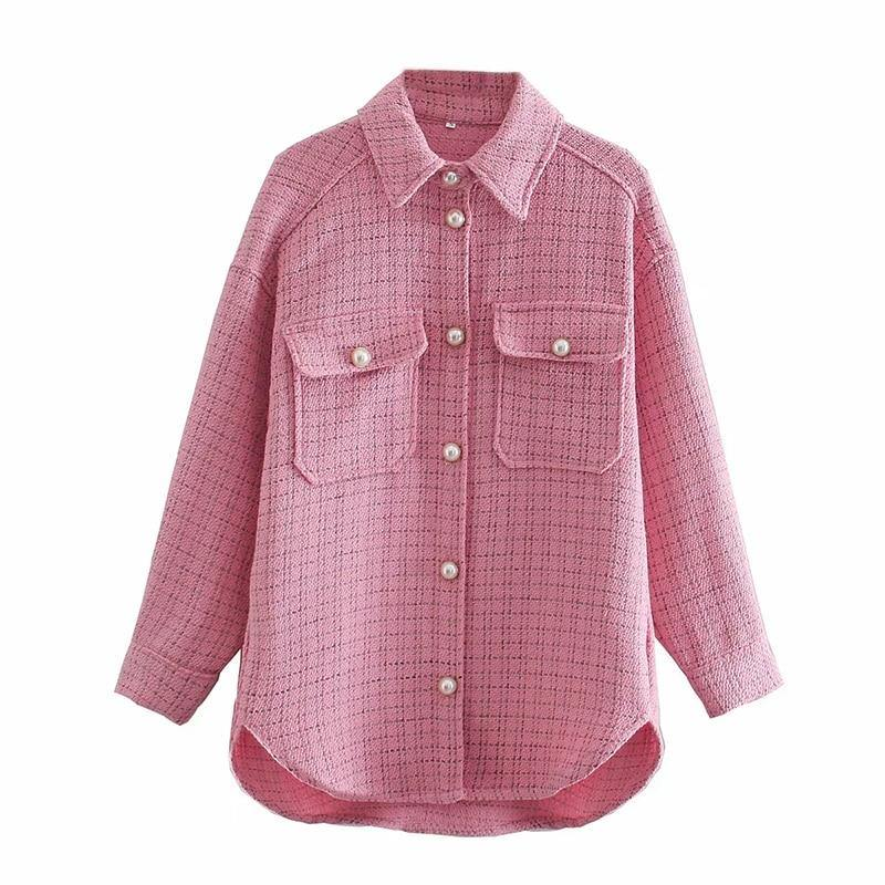 Pink Vintage Tweed Women's Long Sleeve Plaid Shirt(s) - NOMO