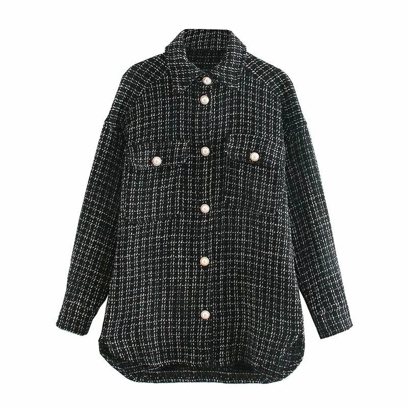 Black Vintage Tweed Women's Long Sleeve Plaid Shirt(s) - NOMO