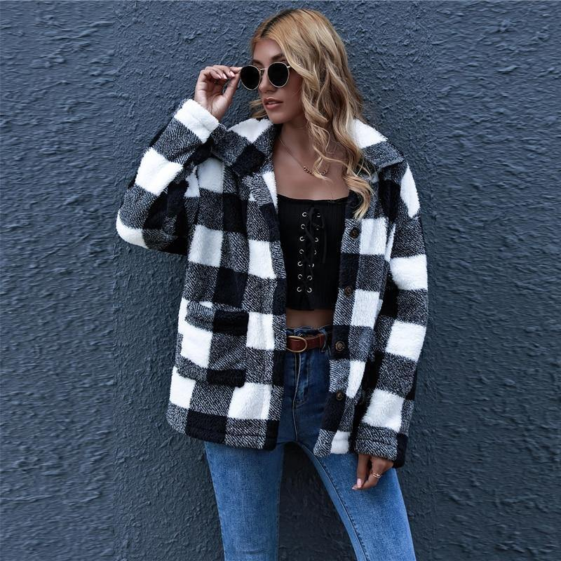 Black and White Plaid Long Sleeve Winter Teddy Coat