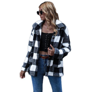 Black and White Plaid Long Sleeve Winter Teddy Coat - NOMO