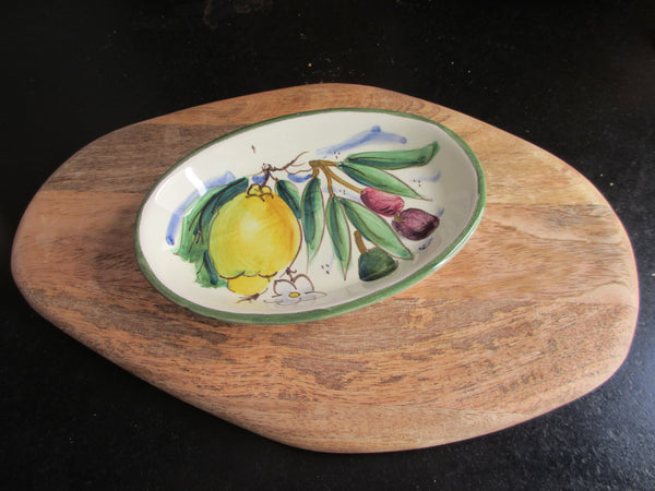 Tuscan soap dish handmade, hand painted with lemons, grapes, Florentine city designs