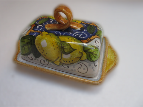Tuscan ceramic butter dish handmade, hand painted with lemons design