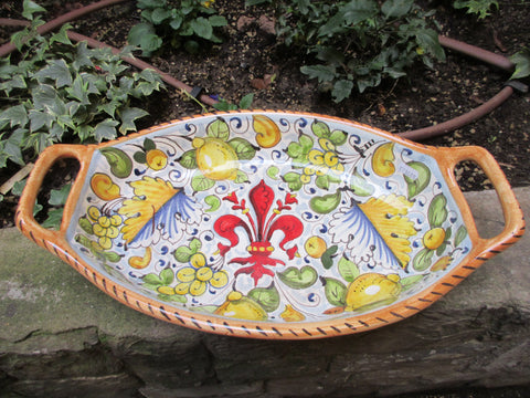 Tuscan serving bowl with handles i handmade, hand-painted with Florentine fleur-de-lis, peacock design