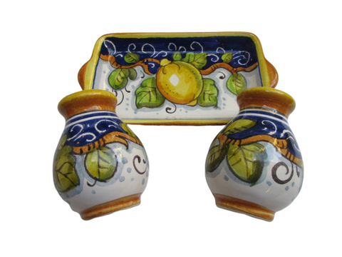Tuscan salt & pepper set handmade, hand painted with 'sale e pepe' lemons, giglio design