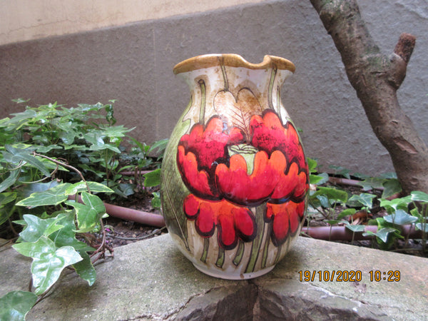 Tuscan wine pitcher handmade, hand painted jar with poppies in a very modern design
