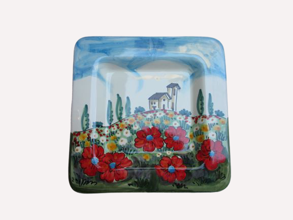 Tuscan square hand made dish in lemons, poppies and traditional design