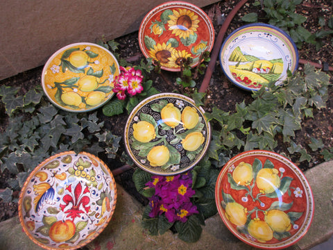 Tuscan ceramic bowl handmade, hand painted with lemons, sunflowers, Tuscany countryside, fleur-de-lis designs