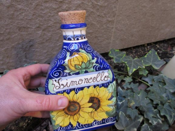 Medium limoncello bottle handmade, hand-painted with grapes, Florence skyline, sunflowers, lemons designs