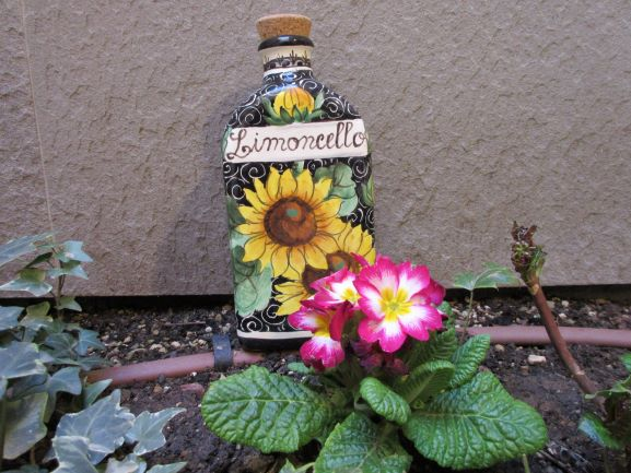 Large limoncello bottle handmade, hand-painted  with sunflowers, lemons, Tuscan leaves