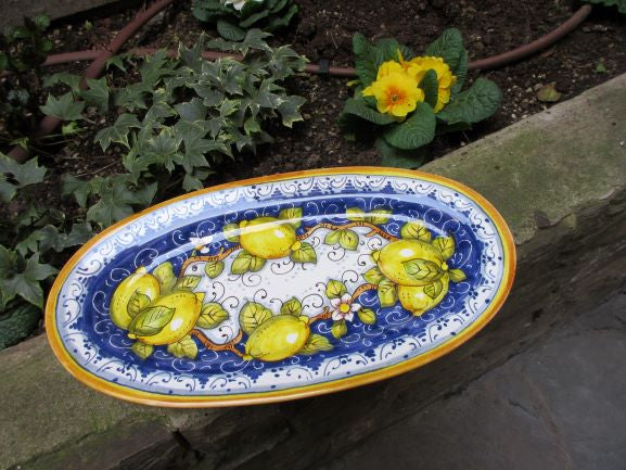 Tuscan oval platter handmade, hand painted with lemons design