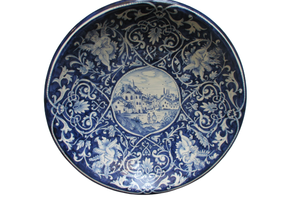 Tuscan wall plate/centerpiece bowl handmade, hand-painted with white and blue Tuscan countryside design