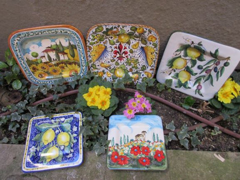Tuscan square dish ceramic handmade, hand-painted with lemons, sunflowers, poppies, fleur-de-lis, Tuscany countryside designs