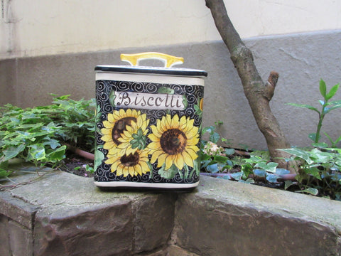 Tuscan large cookie jar handmade, hand painted with 'biscotti' in sunflowers design