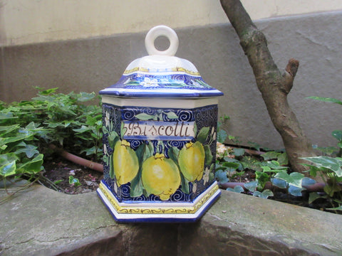Tuscan cookie jar in exagonal shape and traditional blue, yellows design