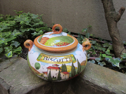 Tuscan ceramic cookie jar handmade, hand painted with 'biscotti' in Tuscan countryside design