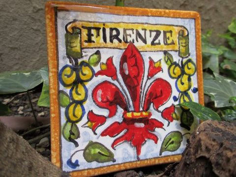 Small ceramic tile handmade, hand painted with Florence 'Firenze', Florentine fleur-de-lis, sun, peacock designs