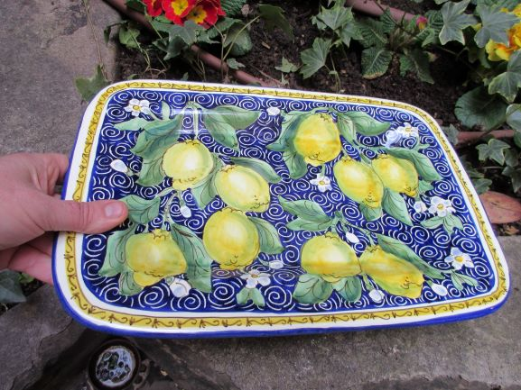 Tuscan ceramic platter handmade, hand painted with sunflowers, lemons, leaves designs