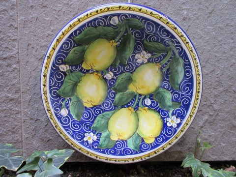 Tuscan dish/plate handmade ceramic, hand-painted with lemons, geometric, sunflowers, and Florence Duomo design
