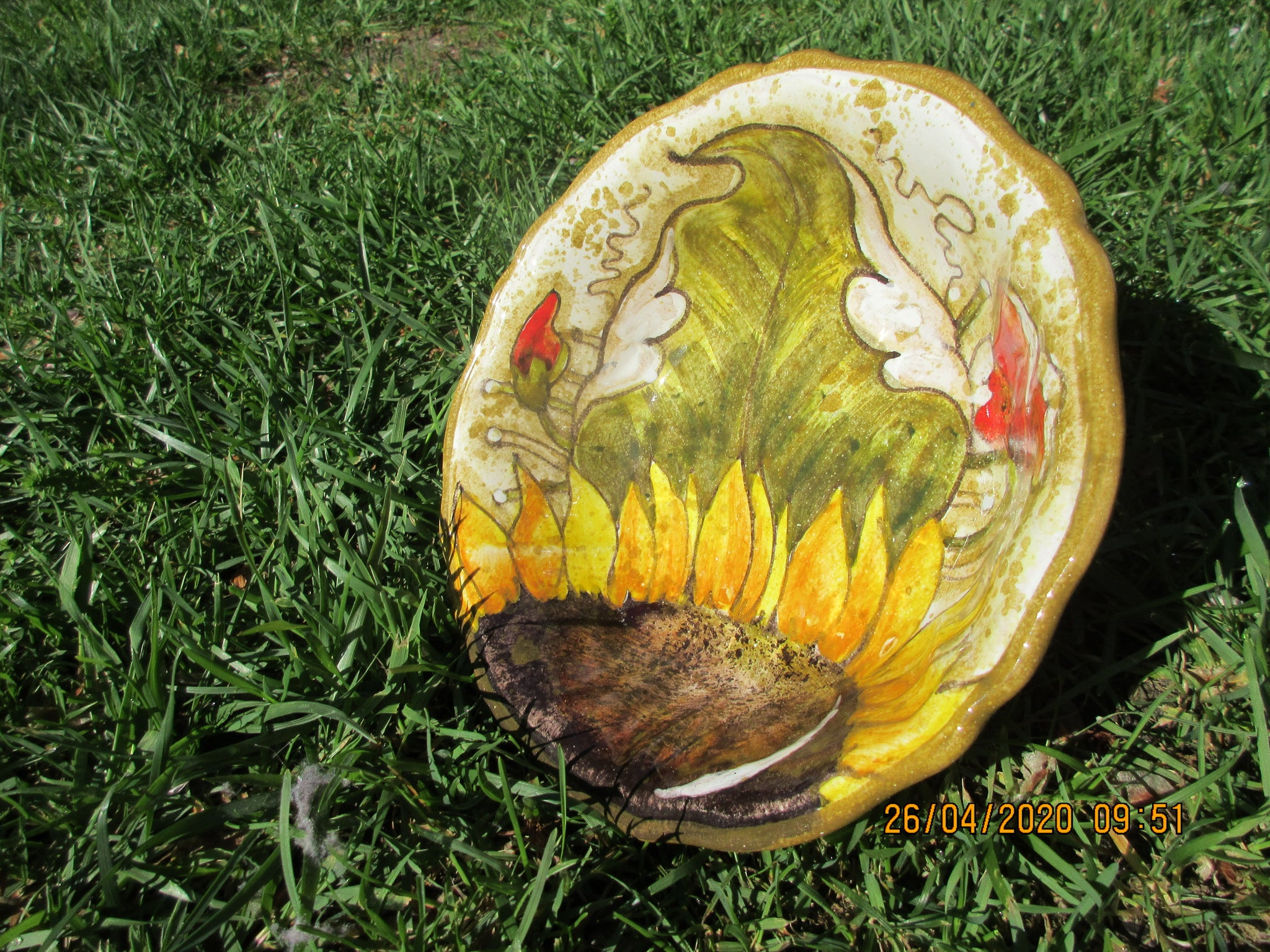 Tuscan ceramic bowl handmade, hand painted with very detailed sunflowers, as modernl designs