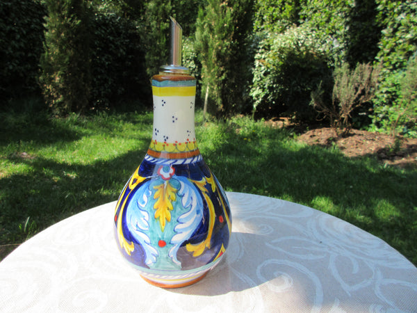 Tuscan olive oil dispenser with handmade, hand-painted with geometric design