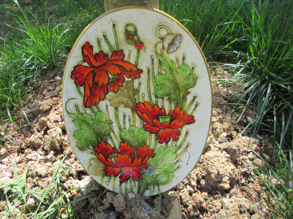 Tuscan platter handmade, hand painted with anemone and poppies design