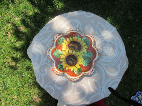 Tuscan ceramic trivet with scalloping handmade, hand painted with 'Firenze' Florence, lemons,poppies,sunflowers designs