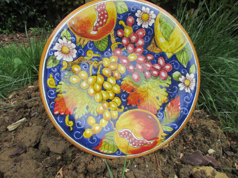 Tuscan dish/plate handmade ceramic, hand-painted with grapes,pomegranade and fleur -de-lis design