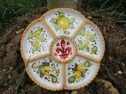 Tuscan tray/antipasto dish handmade ceramic, hand painted with fleur-de-lis design