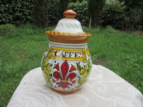 Tuscan ceramic 'caffè' coffee jar or 'zucchero' sugar jar handmade, hand painted with fleur-de-lis giglio designs
