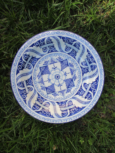 Tuscan dish/plate handmade ceramic, hand-painted in traditional white and blue design