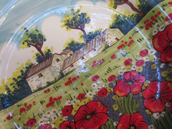 Tuscan wall plate/centerpiece handmade, hand-painted with typical contryside,poppies and olives tree