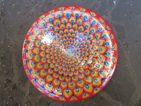 Tuscan round wall plate/dish handmade, hand painted with peacock design
