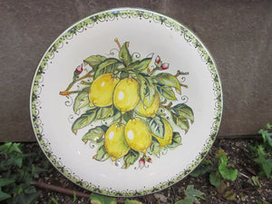 Tuscan round wall plate/dish handmade, hand painted with yellow and green lemons