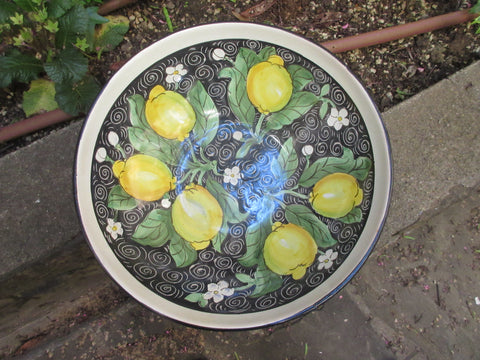 Tuscan ceramic bowl handmade, hand painted with lemons, sunflowers, fleur-de-lis designs