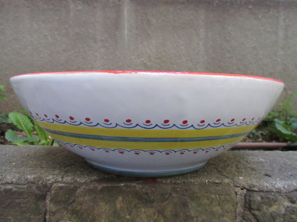 Tuscan ceramic bowl handmade, hand painted with, peacock designs