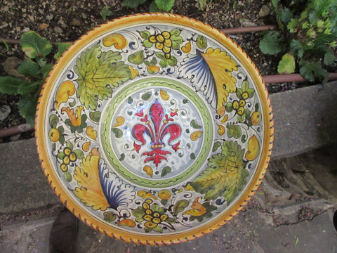Tuscan ceramic bowl handmade, hand painted with montelupo leaf and fleur-de-lis designs