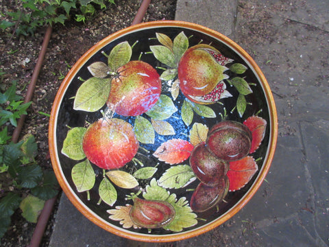 Tuscan large ceramic bowl handmade, hand painted in detailed fruits designs