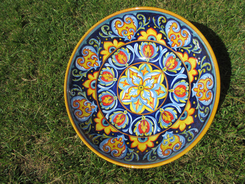 Tuscan large ceramic bowl handmade, hand painted in geometric dark blue designs
